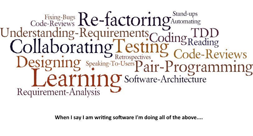 What developing software involves